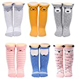 Baby Girls Knee High Socks for Kids Toddler Cute Animals Gifts Pack of 6 (Cute Animal 1)