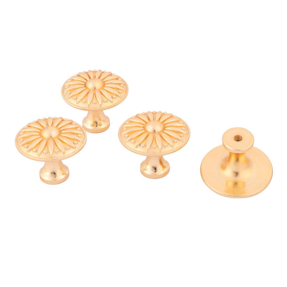 uxcell Metal Home Kitchen Door Cabinet Dresser Hardware Pull Handle Knob 4pcs Gold Tone