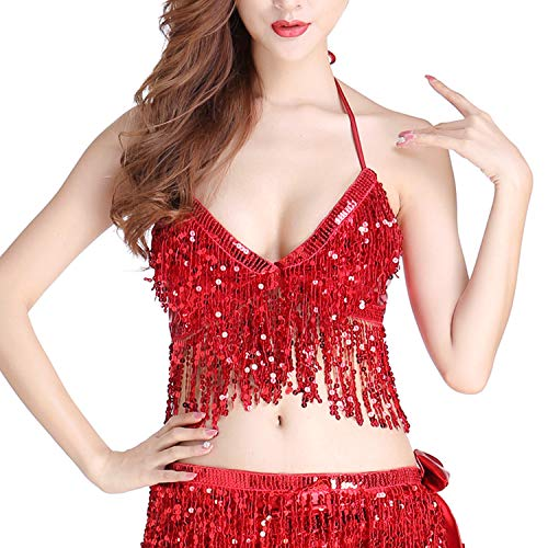 (Anlydia Womens Glitter Sequin Tassel Halter Crop Top Sexy Latin Belly Dance Sequin Bra Party Club Wear Costume )