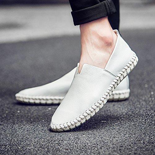 Loafers Leather Mens Lederschuhe Cow Handgemachte auf Bootsschuh Soft Slip Weiß Herren Leder Blue Mens Mode Aq8tpTqx