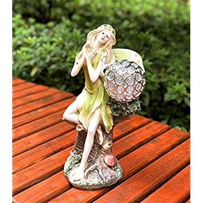 Bo-Toys Solar Powered Fairy Angel with Solar Glowing Globe LED Garden Light Decor Color Change