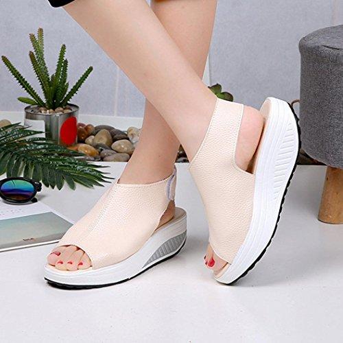Chaussures Femmes Sandales Tongs Secouent Massantes HIGT Bouche Femmes Haut Poisson Les éPaisse Sandales Les Talon de Plage de Bas Beige Beautyjourney Talon Sandales 1Iqxwdgd
