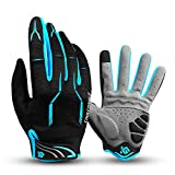 I Kua Fly Cycling Gloves Full Finger Mountain Bike Gloves Gel Padded Touchscreen MTB Gloves for Men Women (Blue, L)
