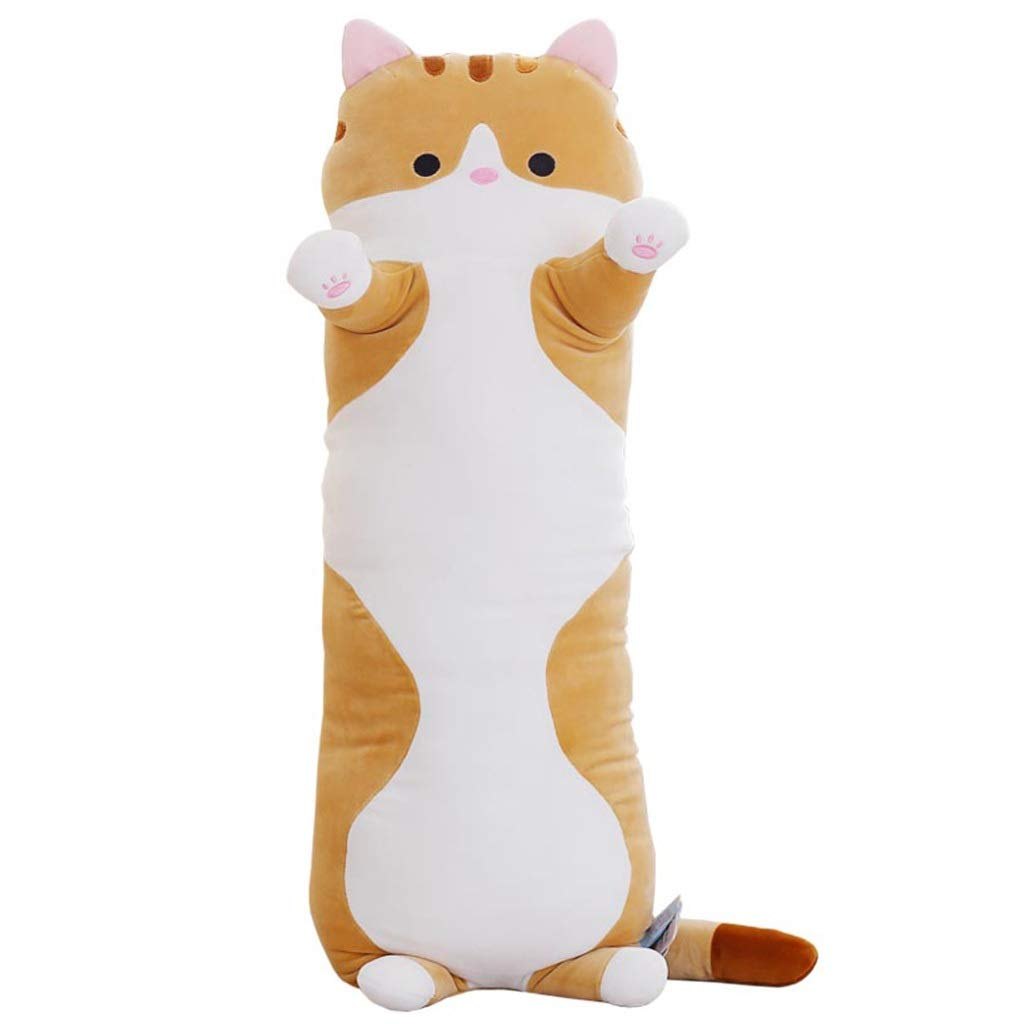 Cute Cat Sleeping Long Pillow, Plush Toy Pillow Pillow, Double Pillow 90 cm Gray, Creative Gift (Color : Yellow)