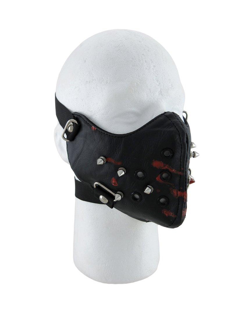 Leather Powersports Protective Face Masks Black Vinyl Spiked Blood Splatter Half Face Mask Facemask Black
