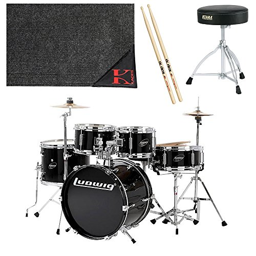 Ludwig Junior 5 Piece Drum Set with Cymbals - (Black) with Tama HT130 Standard Double Braced Leg Throne, Kaces KCP45 - Kaces Econo Drum Rug, and Zildjian Vic Firth American Classic 5A Drum Sticks (Ludwig Standard Drum)