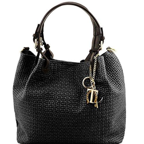 Leather Woven Handbag (Tuscany Leather TL KeyLuck - Woven printed leather shopping bag - TL141573 (Black))