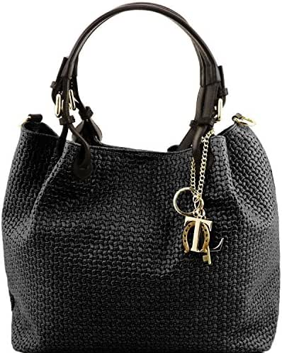 0 bình luận. Từ Mỹ. Tuscany Leather TL KeyLuck - Woven printed leather  shopping bag - TL141573 (Black) d2579704009ca