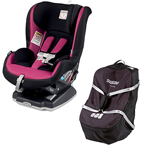 Peg Perego Travel Bag - Peg Perego Convertible Car Seat 5/65, Fleur (Raspberry Pink) with Travel Bag