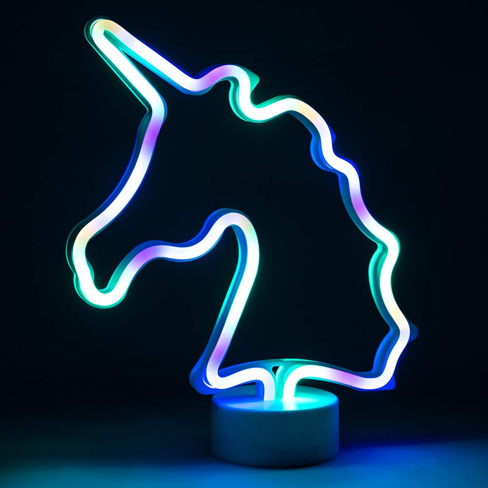 JJ Power Neon Signs Night Light Nersery Lamp for Mom Baby Child (Multi-Colored Unicorn)