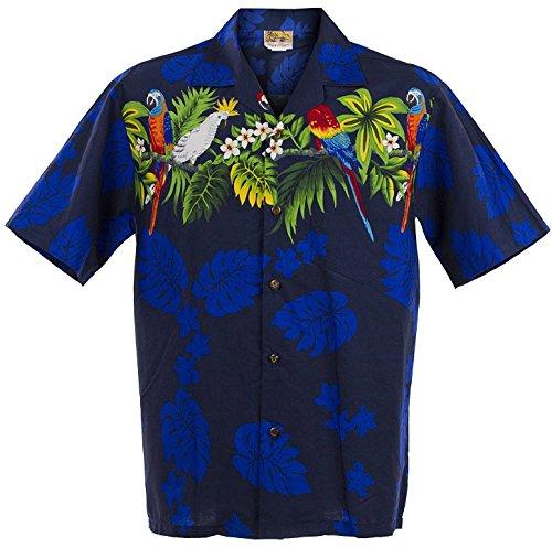 WinnieFashion Hawaiian Shirt New Parrots Aloha Shirtin Blue ()
