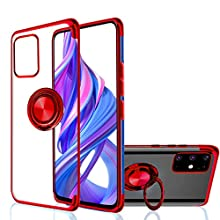 Galaxy S20 Case, Ultra-Thin [360° Ring Stand] Crystal Clear [Electroplated Edge] Silicone Soft TPU [Shockproof Protection] Cover Compatible with Samsung Galaxy S20 (Red, Galaxy S20)