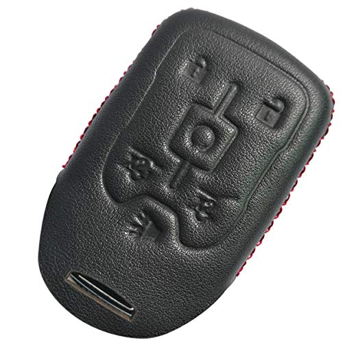 Coolbestda Leather 6buttons Key Fob Remote Cover Case Protector Keyless Skin Jacket Holder for 2017 2016 2015 Chevrolet Suburban LTZ Tahoe GMC Yukon Acadia Black