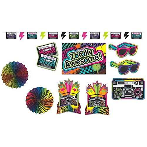 Totally 80's Party Sunglasses, Stereos and Cassettes Decorating Kit, Paper, Pack of (80s Table Decorations)