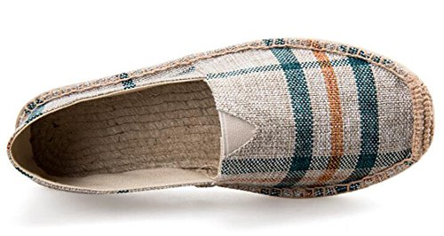 Idifu Donna Uomo Antiscivolo Slip On Canvas Espadrillas Flats Shoes Beige