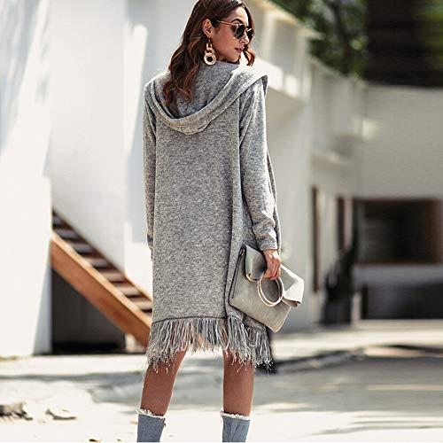 Overmal 2018 Automne Mode Gris Manches Manteaux Fille Longue Bureau Cardigans Les D'extérieur Solide Costume Élégant Manteau Encapuchonné Veste Vêtements Vendeur Outwear Femmes WYwtn1xx
