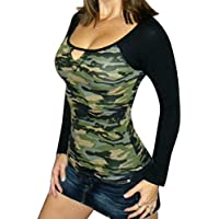 Women Blouse, Misaky V-neck Camouflage Printing Slim Casual T-shirt