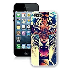 Beautiful Designed Case With Tiger Roar Cross Hipster Quote Design White For iPhone 5S Phone Case