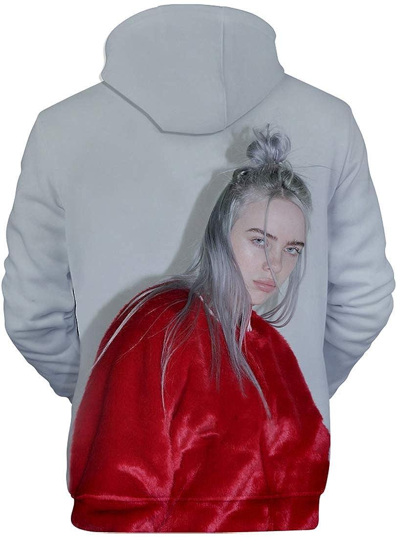 EmilyLe Billie Eilish Girl 3D Print Hoodie with Pockets Fashion Music Sweatshirt