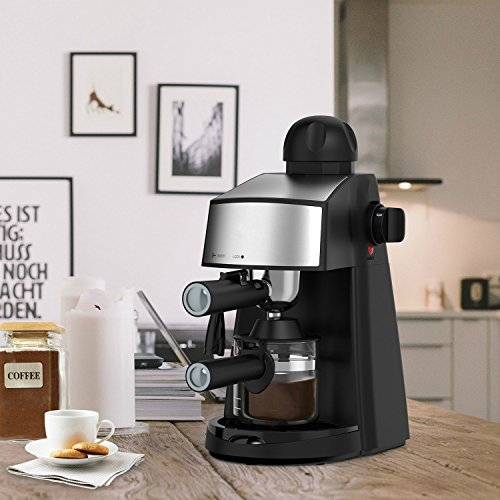 Steam Espresso Machine 800W 4 Cup Stainless Steel Espresso Cappuccino Latte Coffee Maker with Milk Frother and Carafe by SOWTECH (Image #6)