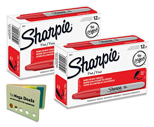 Sharpie Mini Fine Point (Sharpie 30002 Fine Point Permanent Marker, Red Color, Pack of 24 Markers, Includes 5 Color Flag Set)