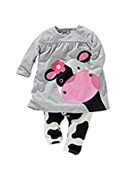 Cow Printed Clothing Set For Baby Girls Boys Casul Shirt and Pants Outfits Outwear