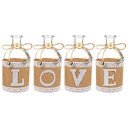 Juvale Small Glass Bottles - Set of 4 Love Theme Small Glass Bottles, Small Glass Decorative Bottles Ideal for DIY Crafts, Home, Party Favors, 5.5 x 2.75 x 2.75 Inches by Juvale