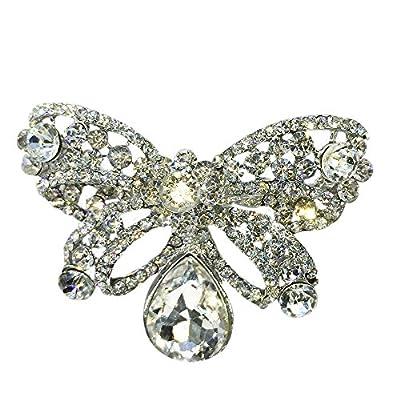 Yilana Quality Women Clear Bufferfly Silver Rhinestone Big Crystal Brooch Pin