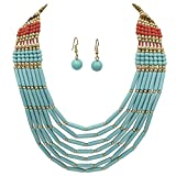 BOHO Chic Multi Row Layered Bead Statement Necklace and Dangle Earring Set (Blue Brown Red)