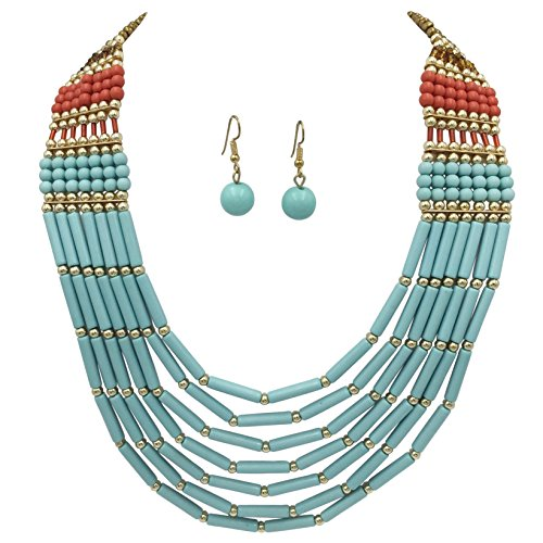 (BOHO Chic Multi Row Layered Bead Statement Necklace and Dangle Earring Set (Blue Brown Red))