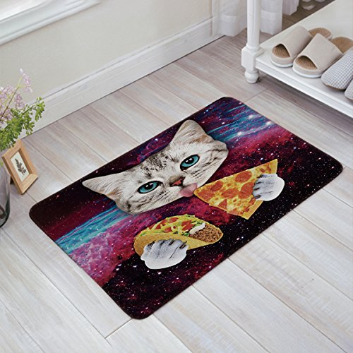 Prime Leader Indoor Doormat Stylish Welcome Mat Cats Pizza Starry Sky Entrance Shoe Scrap Washable Apartment Office Floor Mats Front Doormats Non-Slip Bedroom Carpet Home Kitchen Rug 18