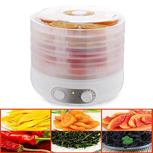500W Food Dehydrator Machine - BPA Free Drying System With 5 Nesting Tray - For Beef Jerky Preserving Wild Food and Fruit Vegetable Dryer in Home Kitchen 250V (US Plug) (White)