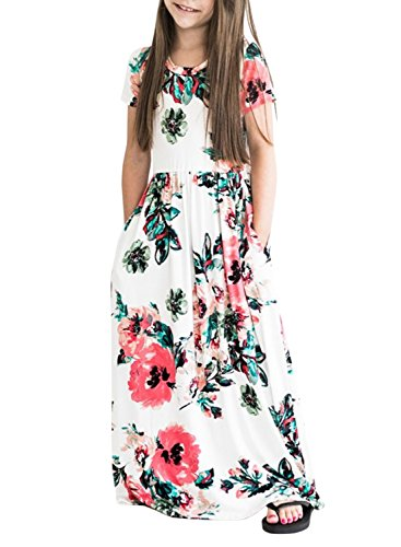 ZESICA Girl's Short Sleeve Floral Printed Empire Waist Long Maxi Dress With Pockets, White, Small