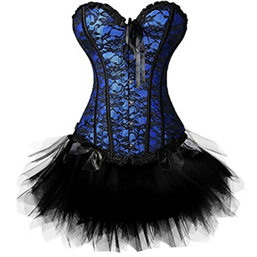 Women's Burlesque TuTu Gothic Fancy Overbust Corset 815 Blue Top