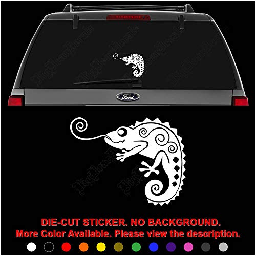 Chameleon Lizard Pet Die Cut Vinyl Decal Sticker for Car Truck Motorcycle Vehicle Window Bumper Wall Decor Laptop Helmet Size- [6 inch] / [15 cm] Wide || Color- Gloss White