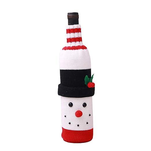 Juego de botellas de vino de punto navideño, diseño de Papá Noel ...