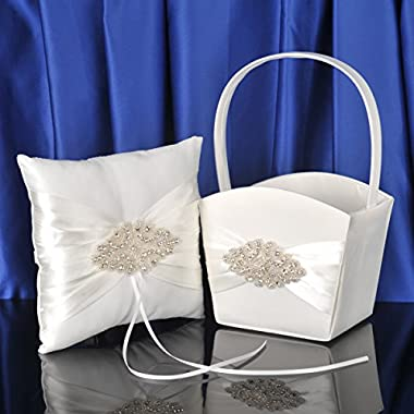 Topwedding Beige Satin Ring Pillow and Flower Basket Set with Beaded Bow