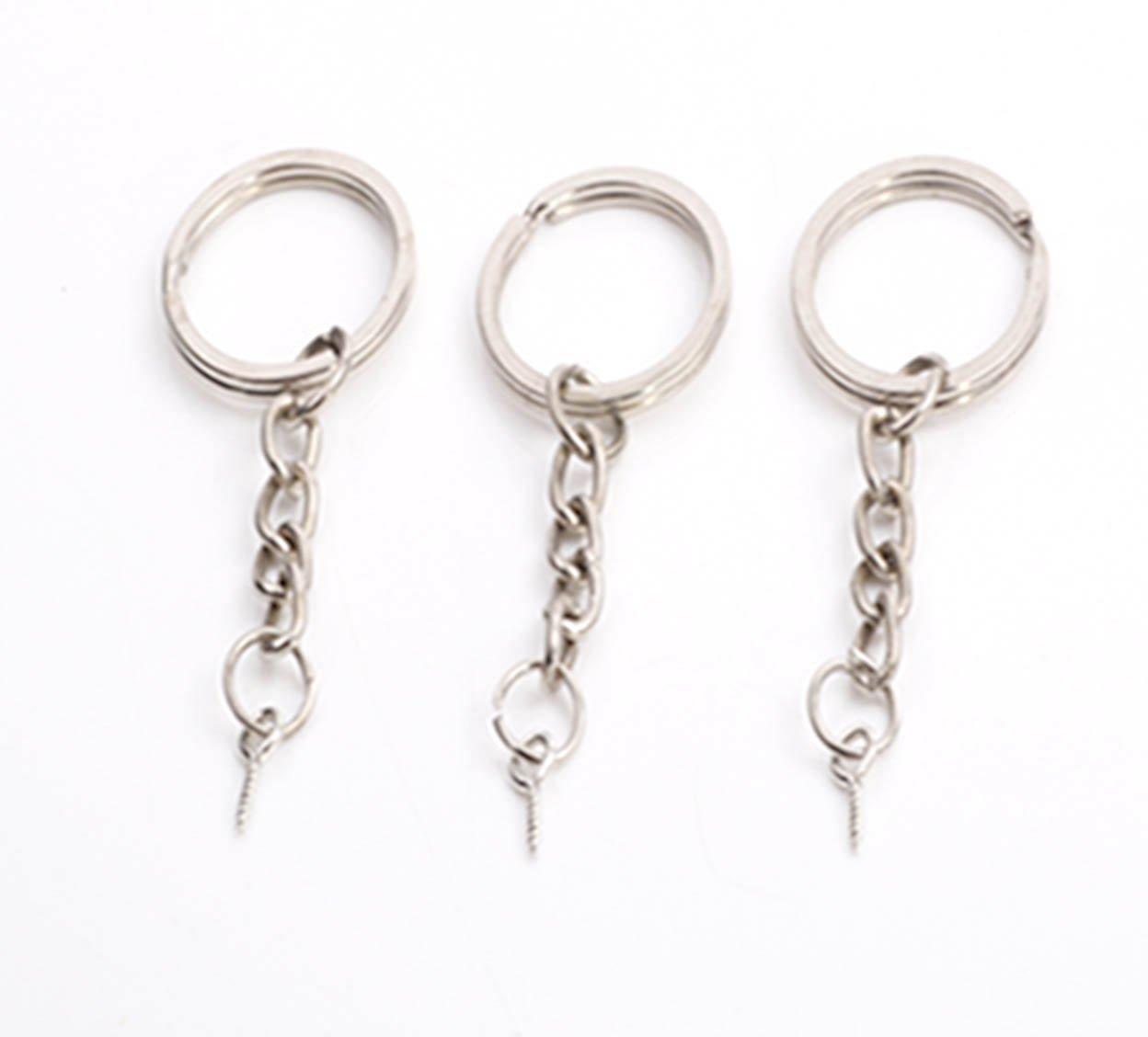 10 anelli per portachiavi in metallo argentato con catenella e gancio avvitabile La boutique de Karine 20 mm
