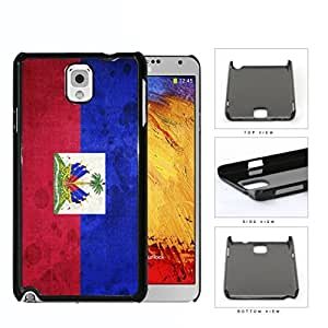 Haiti Flag with Coat of Arms Red and Blue Grunge Hard Snap on Phone Case Cover Samsung Galaxy Note 3 N9000
