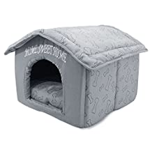Best Pet Supplies Home Sweet Home Pet House, Silver with Bones