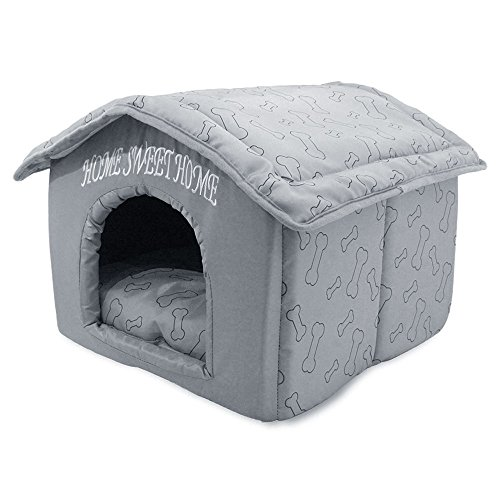 Best Pet Supplies Portable Indoor Pet House - Perfect for Cats and Small Dogs, Easy to Assemble - Silver