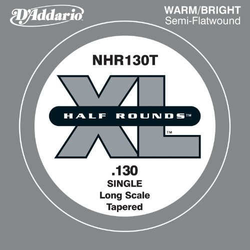 D'Addario NHR130T Half Round Bass Guitar Single String, Long Scale .130, (Round Wound Single)