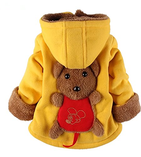 Yan's Baby Winter Coat Jacket Thick Wool Inside Kids Warm Winter Top (10-18Month, Yellow)