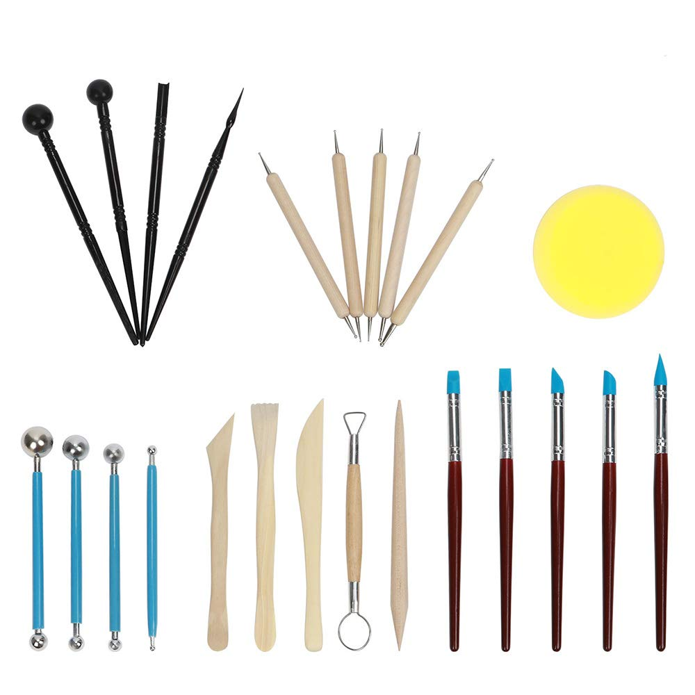 TOROTON Ball Stylus Dot Painting Tools for Mandala Rock Art, 24 Pcs Modeling Clay Sculpting Tools Kits for Pottery Sculpture
