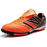 Tiebao Men's Hard Ground IC Athletic Soccer Pu Leather Football Shoes 15107(Orange,us11)