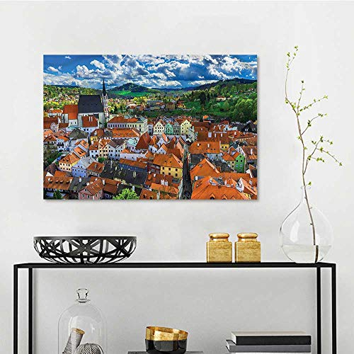 one1love Wanderlust Landscape Oil Painting Czech Historic Town Hill for Living Room,Dinning Room, Bedroom W47 xL31