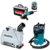 Makita 9557PBX1 4 1/2 Inch Angle Grinder w/Case, Diamond Blade, 5 Grinding Wheels, Wheel Guards, 196846 1 Tuck Point Guard, VC4710 12 Gallon Xtract Vac Wet/Dry Dust Extractor/Vacuum