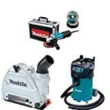 Makita 9557PBX1 4-1/2-Inch Angle Grinder with Aluminum Case with Makita 196846-1 Dust Extracting Tuck Point Guard, 5'' with Makita VC4710 12-Gallon Wet/Dry Vacuum