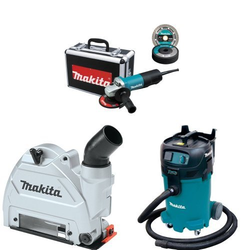 Makita 9557PBX1 4-1/2-Inch Angle Grinder w/Case, Diamond Blade, 5 Grinding Wheels, Wheel Guards, 196846-1 Tuck Point Guard, VC4710 12 Gallon Xtract Vac Wet/Dry Dust Extractor/Vacuum