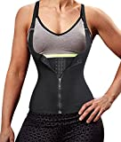 Eleady Women's Underbust Corset Waist Trainer Cincher Steel Boned Body Shaper Vest with Adjustable Straps (XL, Black)